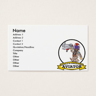 WORLDS GREATEST AVIATOR MEN MALE CARTOON BUSINESS CARD