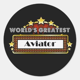 World's Greatest Aviator Round Stickers