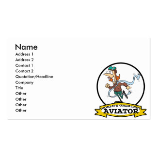 WORLDS GREATEST AVIATOR WOMEN CARTOON Double-Sided STANDARD BUSINESS CARDS (Pack OF 100)
