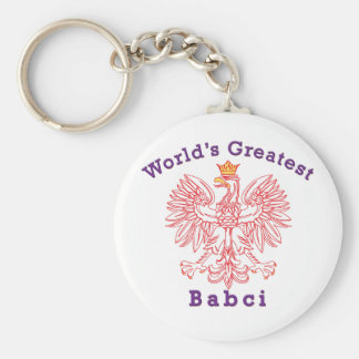 World's Greatest Babci Red Eagle Keychain