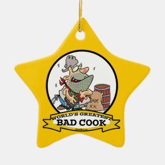 WORLDS GREATEST BAD COOK MEN CARTOON CERAMIC ORNAMENT