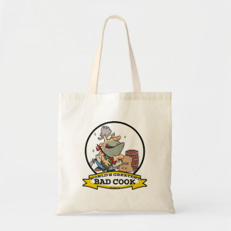 WORLDS GREATEST BAD COOK MEN CARTOON TOTE BAG