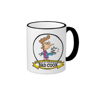 WORLDS GREATEST BAD COOK WOMEN CARTOON RINGER COFFEE MUG