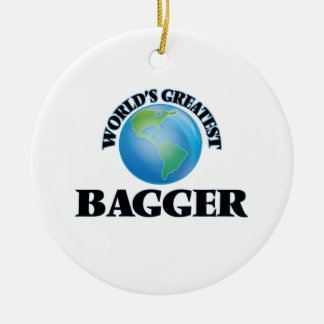 World's Greatest Bagger Double-Sided Ceramic Round Christmas Ornament