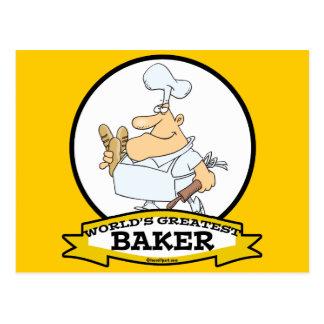 WORLDS GREATEST BAKER MEN CARTOON POSTCARD