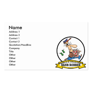 WORLDS GREATEST BANK ROBBER MEN CARTOON Double-Sided STANDARD BUSINESS CARDS (Pack OF 100)
