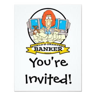 WORLDS GREATEST BANKER CARTOON 4.25X5.5 PAPER INVITATION CARD