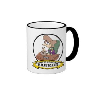 WORLDS GREATEST BANKER WOMEN CARTOON RINGER COFFEE MUG