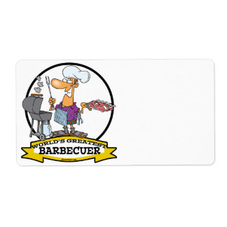 WORLDS GREATEST BARBECUER MEN CARTOON CUSTOM SHIPPING LABEL