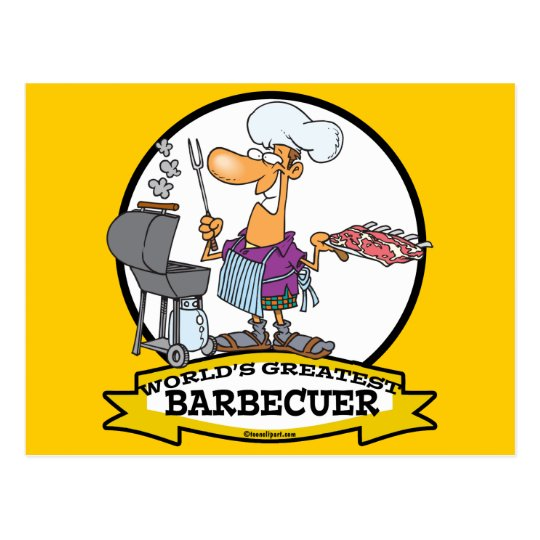 WORLDS GREATEST BARBECUER MEN CARTOON POSTCARD