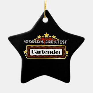 World's Greatest Bartender Double-Sided Star Ceramic Christmas Ornament