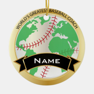 World's Greatest Baseball Coach | DIY Text Double-Sided Ceramic Round Christmas Ornament
