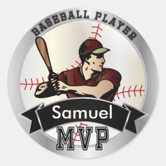 World's Greatest Baseball Player | DIY Name Classic Round Sticker