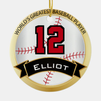 World's Greatest Baseball Player With Number Ceramic Ornament