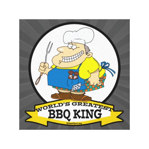WORLDS GREATEST BBQ KING MEN CARTOON STRETCHED CANVAS PRINT