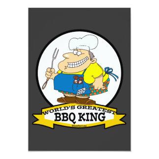 WORLDS GREATEST BBQ KING MEN CARTOON 5X7 PAPER INVITATION CARD