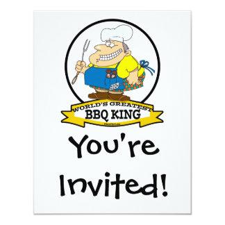 WORLDS GREATEST BBQ KING MEN CARTOON 4.25X5.5 PAPER INVITATION CARD