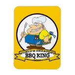 WORLDS GREATEST BBQ KING MEN CARTOON RECTANGULAR MAGNET