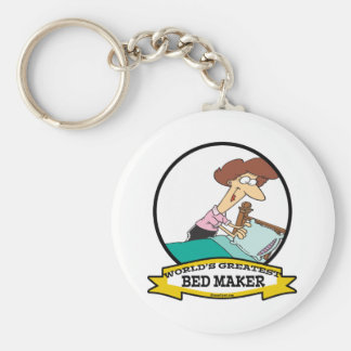 WORLDS GREATEST BED MAKER WOMEN CARTOON KEYCHAIN
