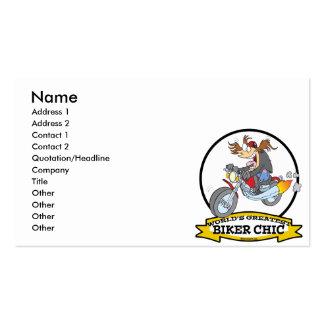 WORLDS GREATEST BIKER CHIC WOMEN CARTOON BUSINESS CARD TEMPLATES