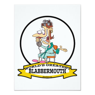 WORLDS GREATEST BLABBERMOUTH WOMEN CARTOON 4.25X5.5 PAPER INVITATION CARD