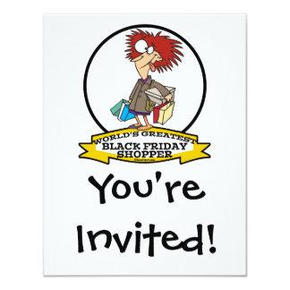 WORLDS GREATEST BLACK FRIDAY SHOPPER CARTOON 4.25X5.5 PAPER INVITATION CARD