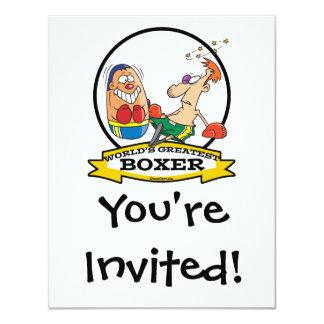 WORLDS GREATEST BOXER MEN CARTOON INVITES