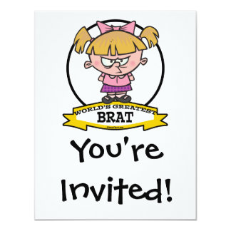 "WORLDS GREATEST BRAT CARTOON 4.25"" X 5.5"" INVITATION CARD"