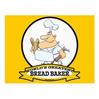 WORLDS GREATEST BREAD BAKER MEN CARTOON POSTCARD
