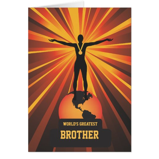 Worlds Greatest Brother Trophy Award Greeting Card