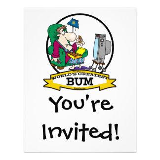 WORLDS GREATEST BUM MEN CARTOON PERSONALIZED INVITE