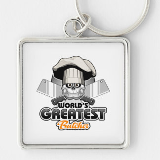 World's Greatest Butcher v2 Silver-Colored Square Keychain