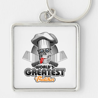 World's Greatest Butcher v3 Silver-Colored Square Keychain