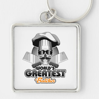 World's Greatest Butcher v4 Silver-Colored Square Keychain