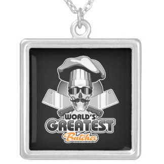 World's Greatest Butcher v4 Silver Plated Necklace