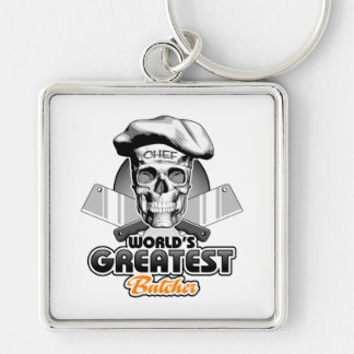 World's Greatest Butcher v5 Silver-Colored Square Keychain