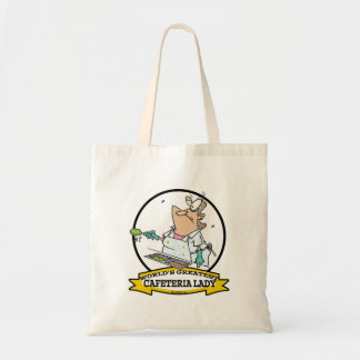 WORLDS GREATEST CAFETERIA LADY CARTOON CANVAS BAG