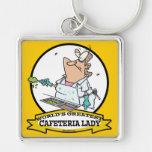 WORLDS GREATEST CAFETERIA LADY CARTOON KEYCHAIN