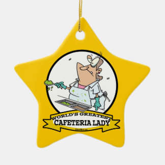 WORLDS GREATEST CAFETERIA LADY CARTOON CHRISTMAS TREE ORNAMENT