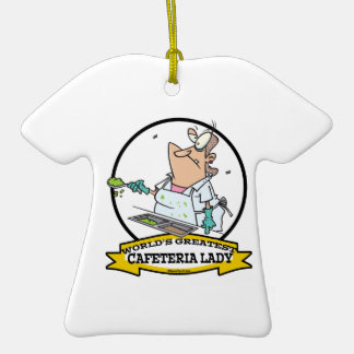 WORLDS GREATEST CAFETERIA LADY CARTOON CHRISTMAS ORNAMENTS