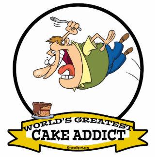 WORLDS GREATEST CAKE ADDICT CARTOON STANDING PHOTO SCULPTURE