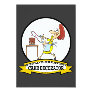 WORLDS GREATEST CAKE DECORATOR WOMEN CARTOON 5X7 PAPER INVITATION CARD