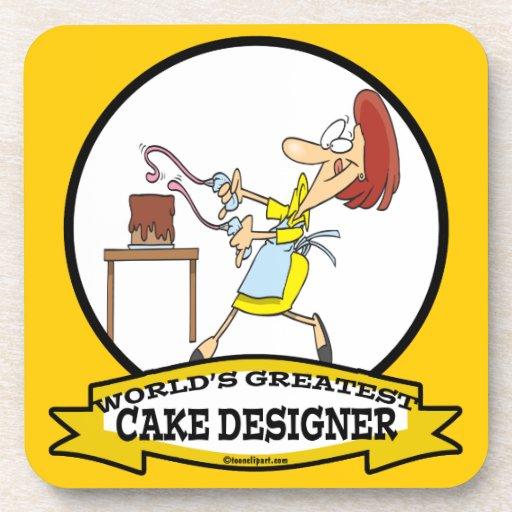 WORLDS GREATEST CAKE DESIGNER WOMEN CARTOON BEVERAGE COASTER
