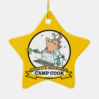 WORLDS GREATEST CAMP COOK LADY CARTOON CHRISTMAS ORNAMENT