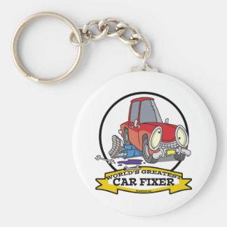 WORLDS GREATEST CAR FIXER CARTOON BASIC ROUND BUTTON KEYCHAIN