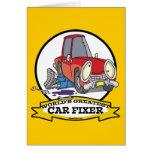 WORLDS GREATEST CAR FIXER CARTOON GREETING CARD