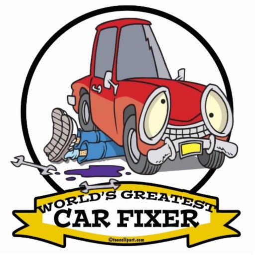 WORLDS GREATEST CAR FIXER CARTOON PHOTO SCULPTURE