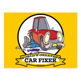 WORLDS GREATEST CAR FIXER CARTOON POSTCARD