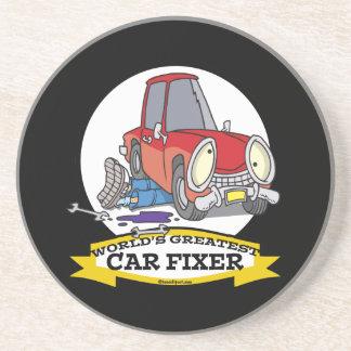 WORLDS GREATEST CAR FIXER CARTOON SANDSTONE COASTER
