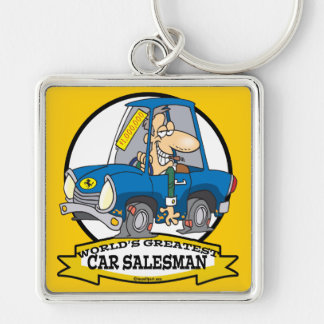 WORLDS GREATEST CAR SALESMAN MEN CARTOON Silver-Colored SQUARE KEYCHAIN